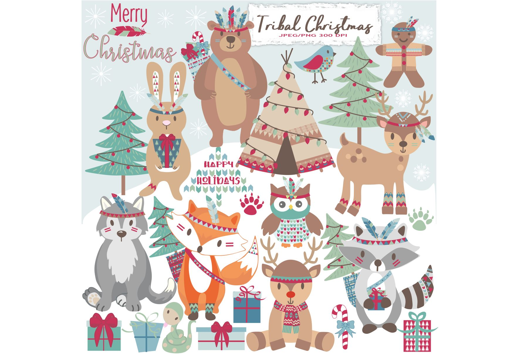 Tribal Christmas Woodland Animals Clipart Example Image 1