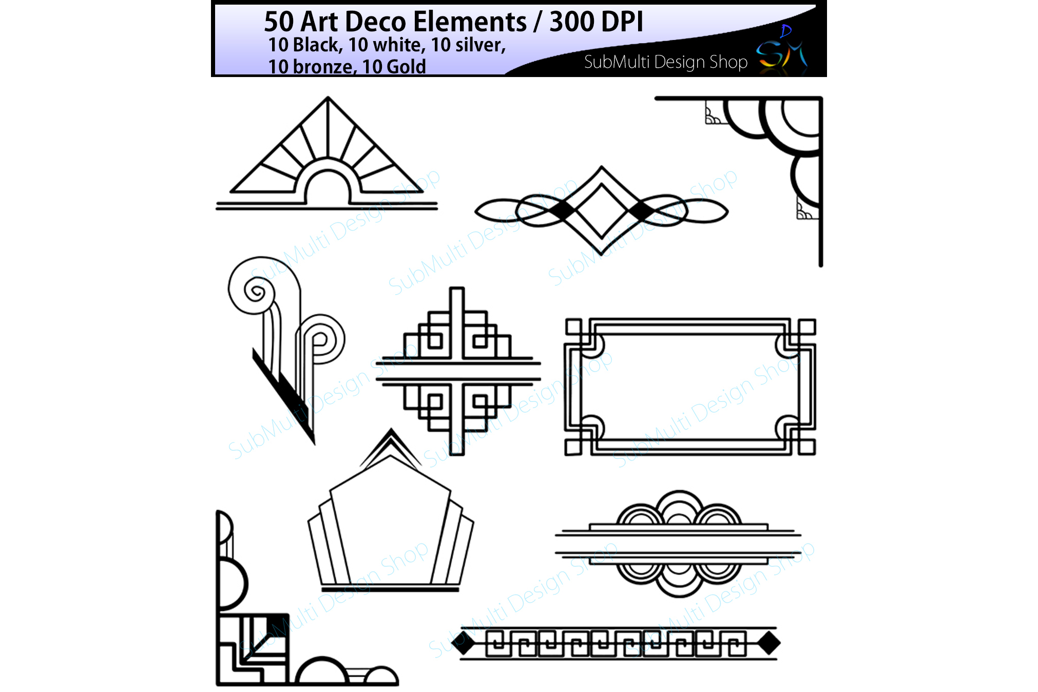 Art deco art deco elements art deco design bundles - Art deco design elements ...