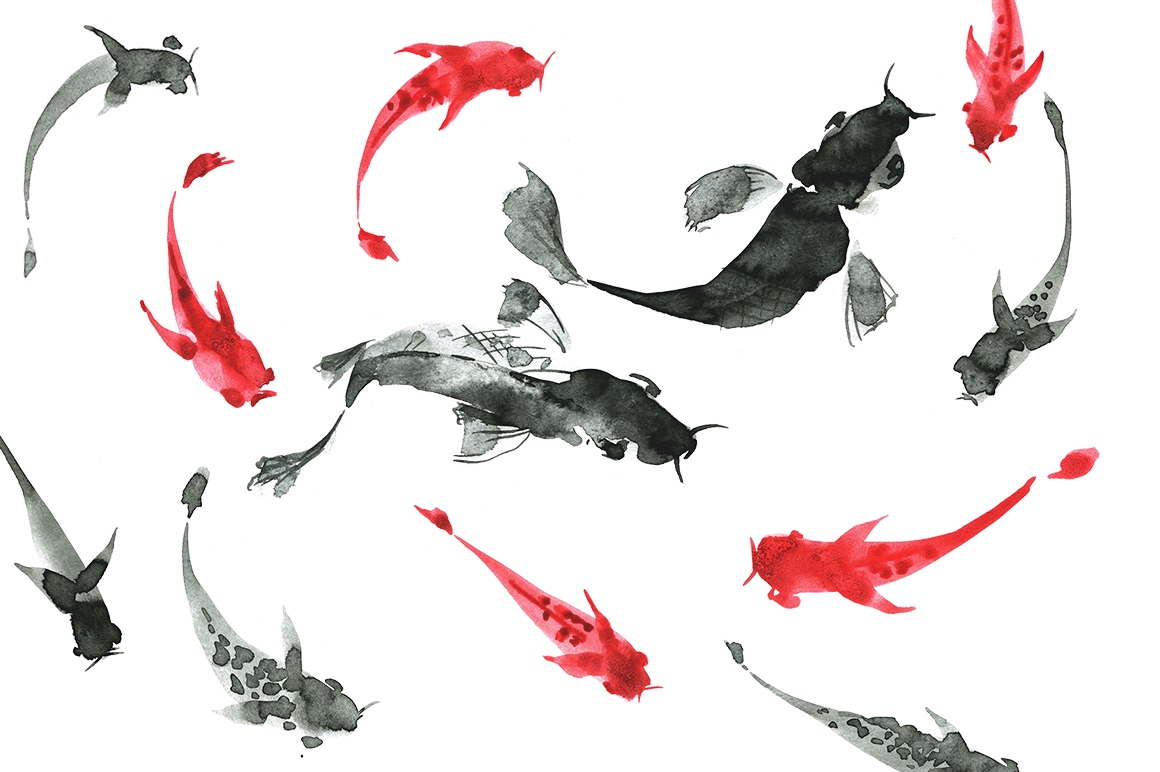 Sumi-e. Japanese ink painting example image 7