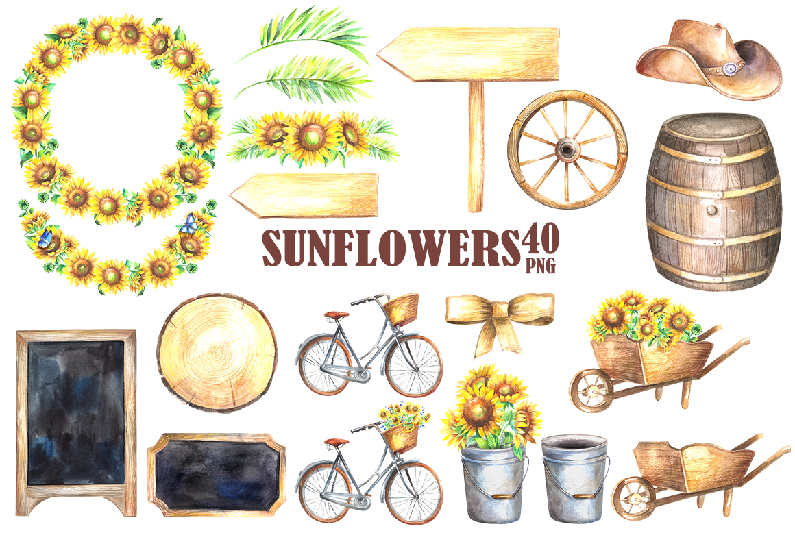 sunflowers watercolor clipart by finedi