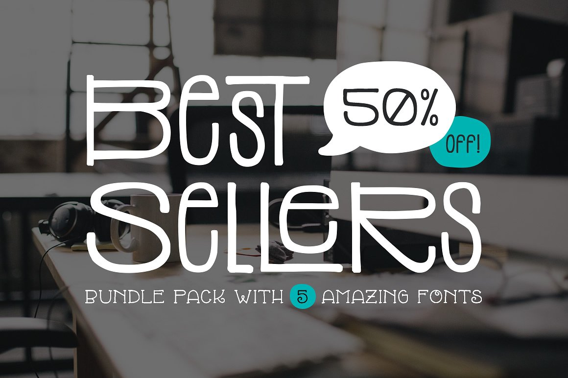 Top 5 Bestselling Fonts Bundle Pack example image 1