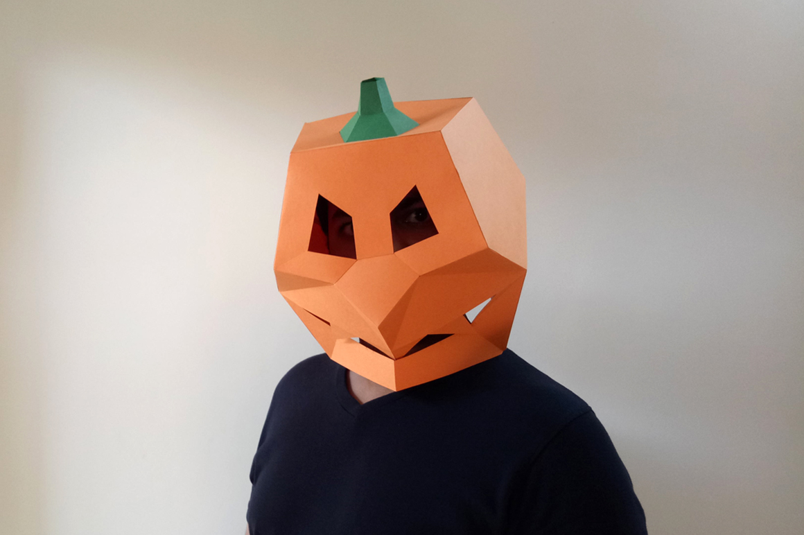 DIY Pumpkin Mask - 3d papercraft example image 1