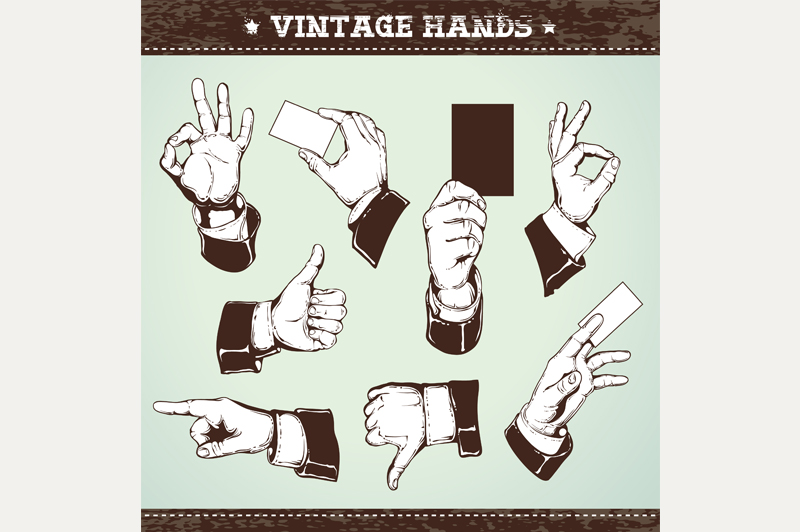 Vintage Hands | Vector Icons example image 3