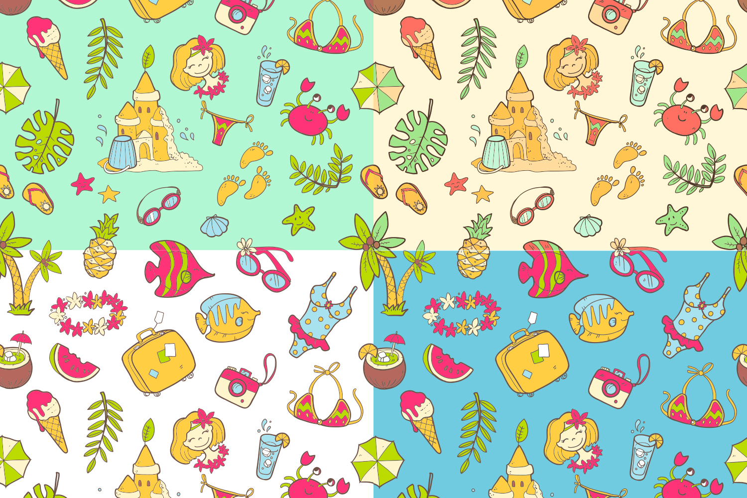 Summer vector doodles collection. example image 3