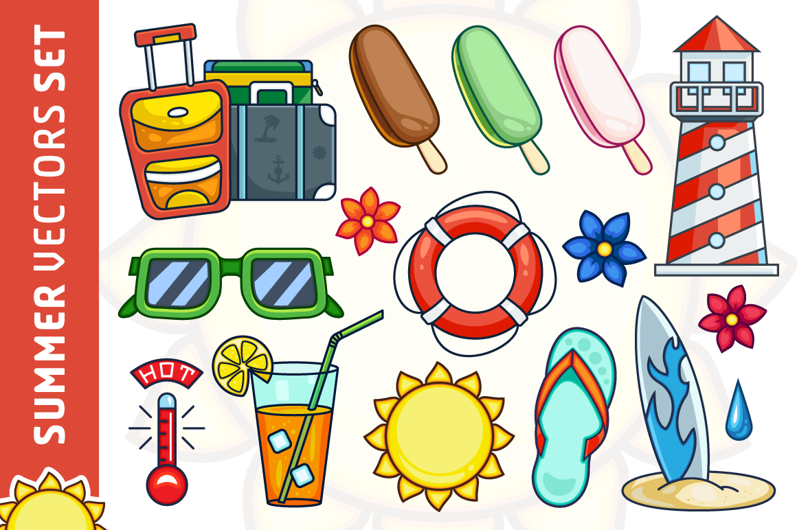 Summer Vector Illustrations Set example image 1