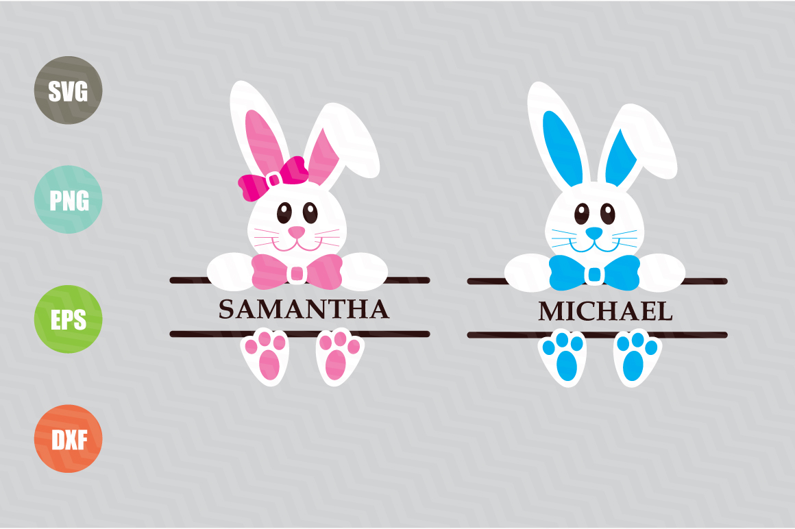 Easter Bunny Svg, Easter Monogram Svg example image 1