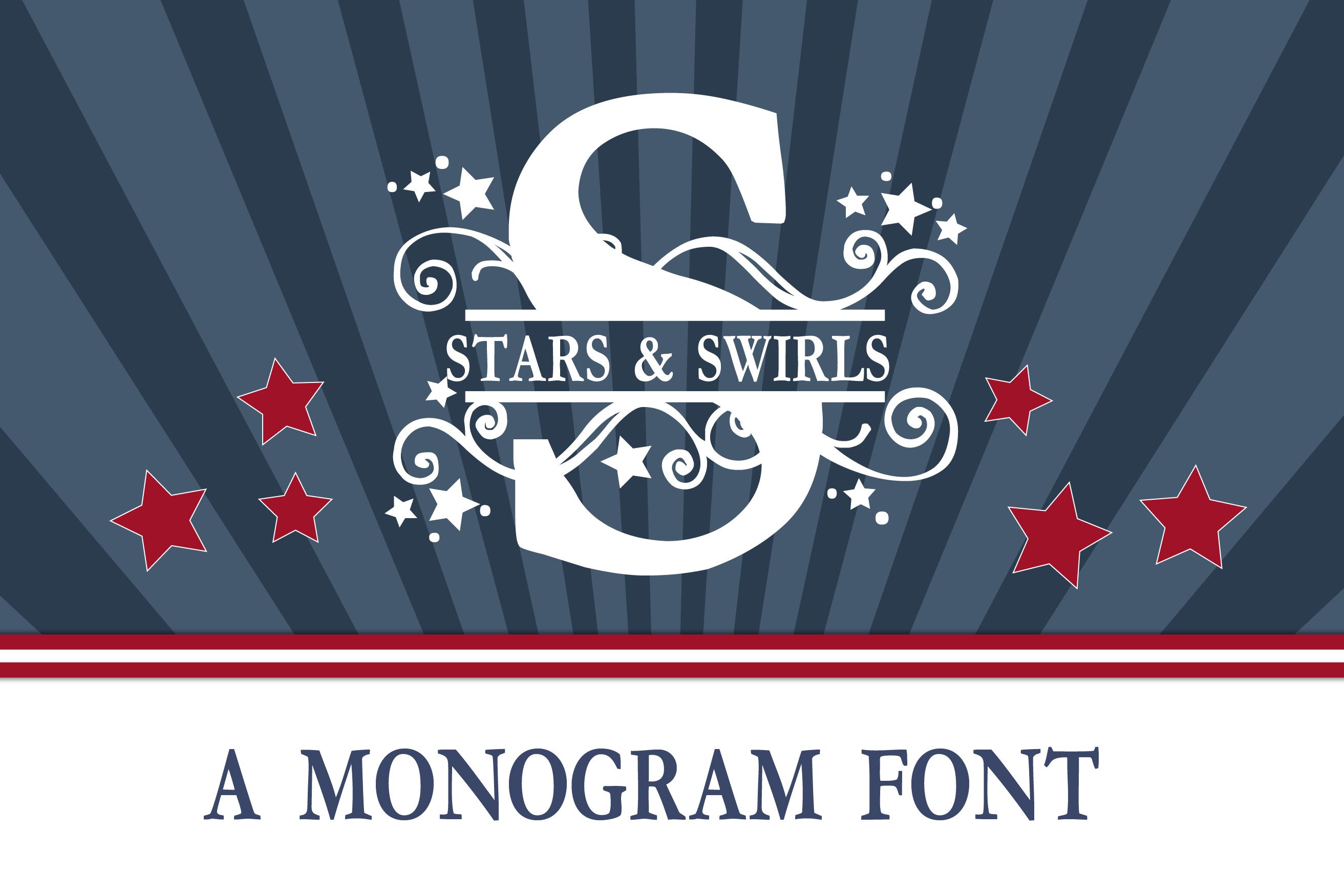 PN Stars & Swirls Monogram Banner Font example image 1