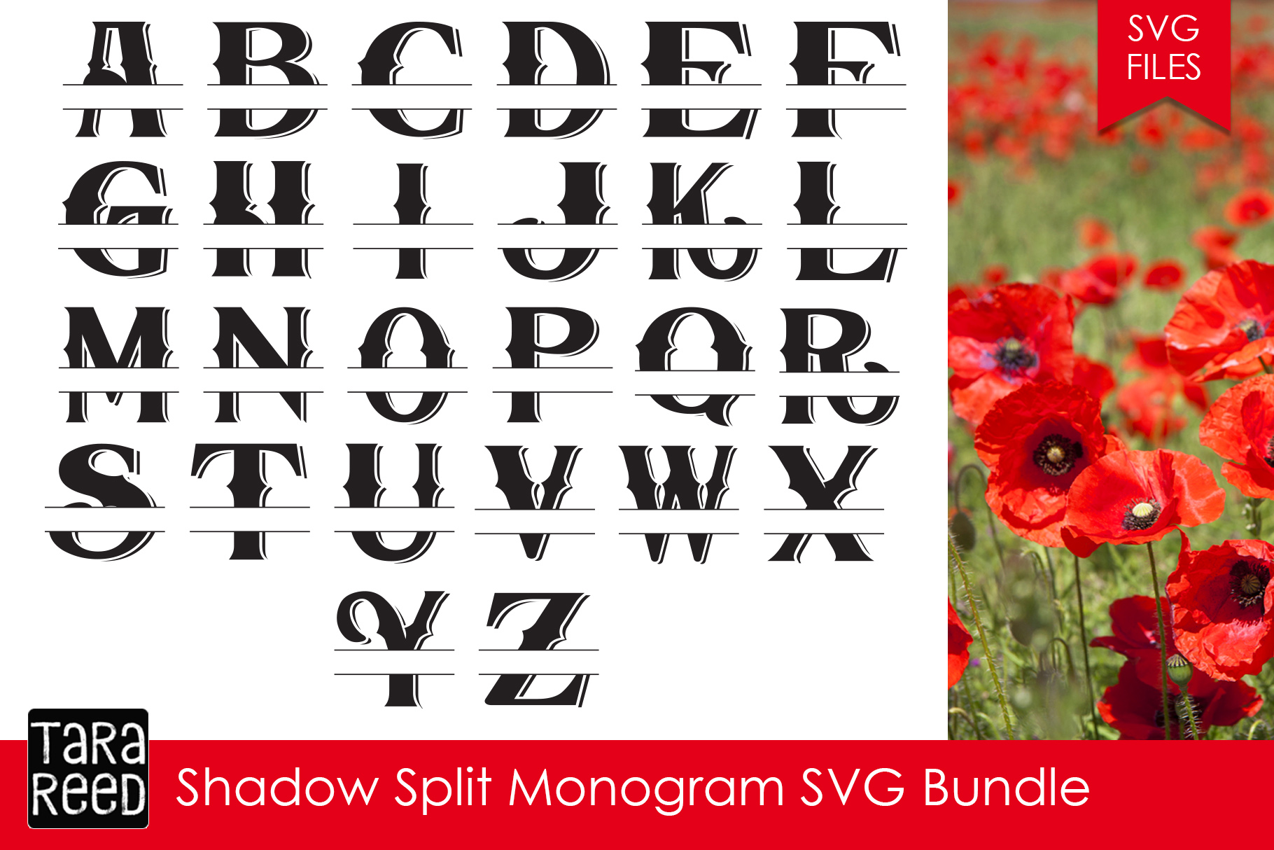 Shadow Split Monogram Svg Bundle Example Image 1