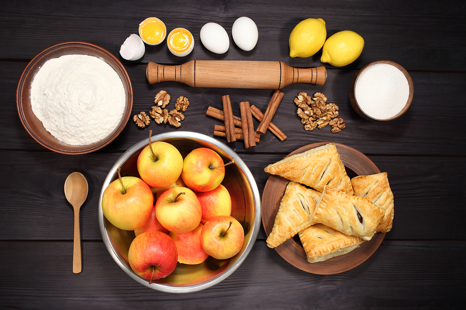 Set 12 photos Apple Pie and raw ingredients for baking. Sweet food series. Dessert. Top view example image 5