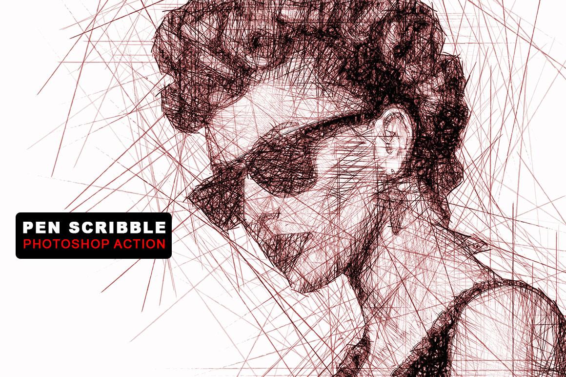 Scribble Pen Drawing : Pen scribble photoshop action by keepde design bundles