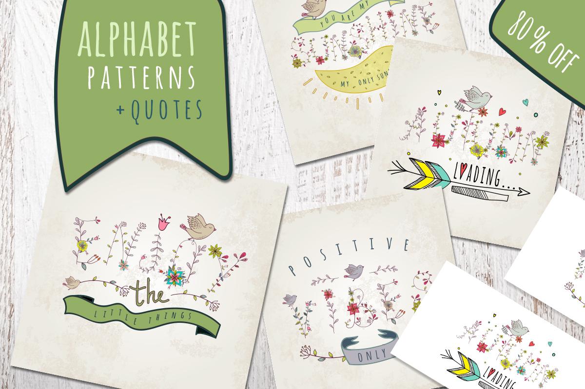 Floral & birds. Alphabet/patterns example image 1