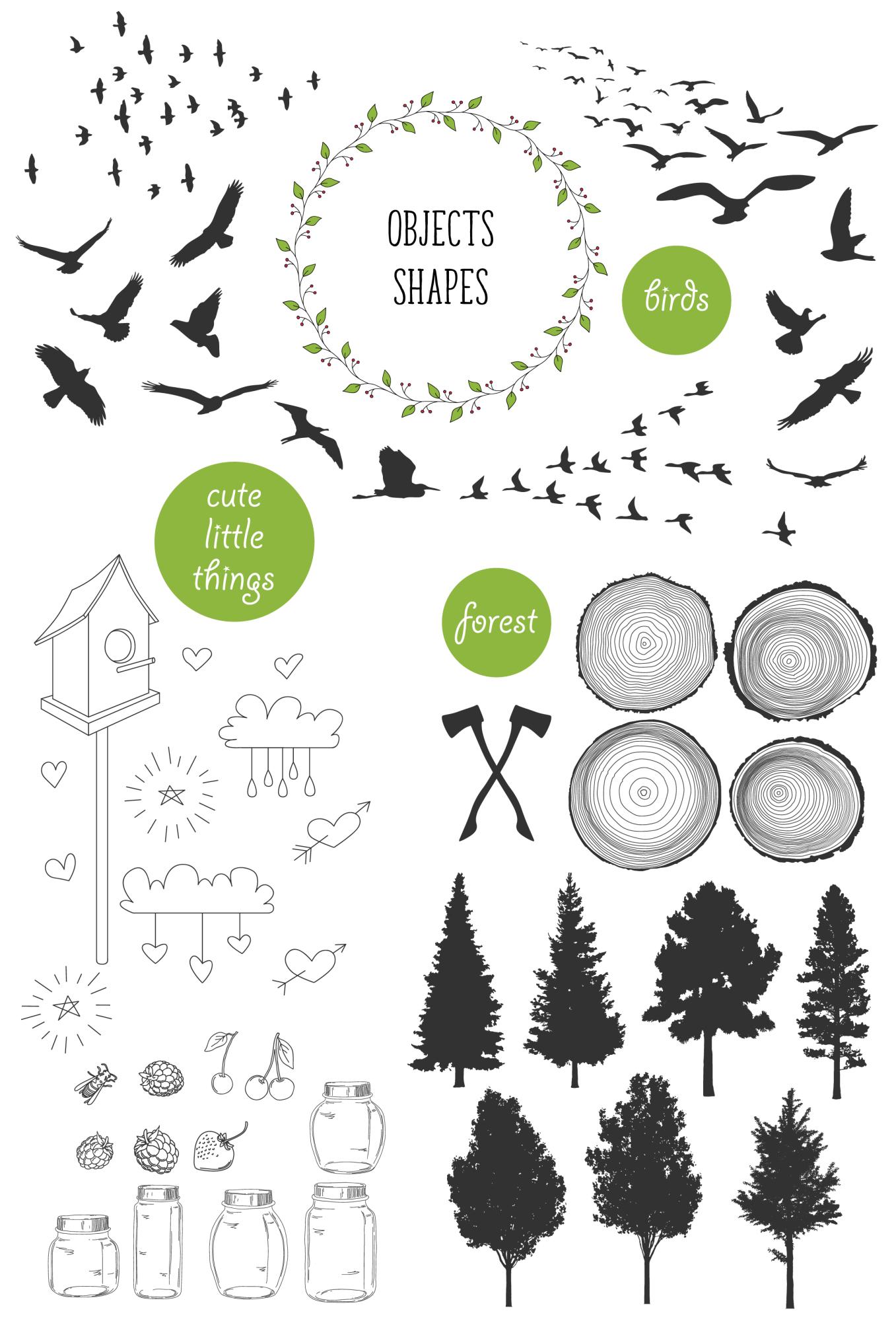 450 handsketched elements. Nature mega pack example image 3