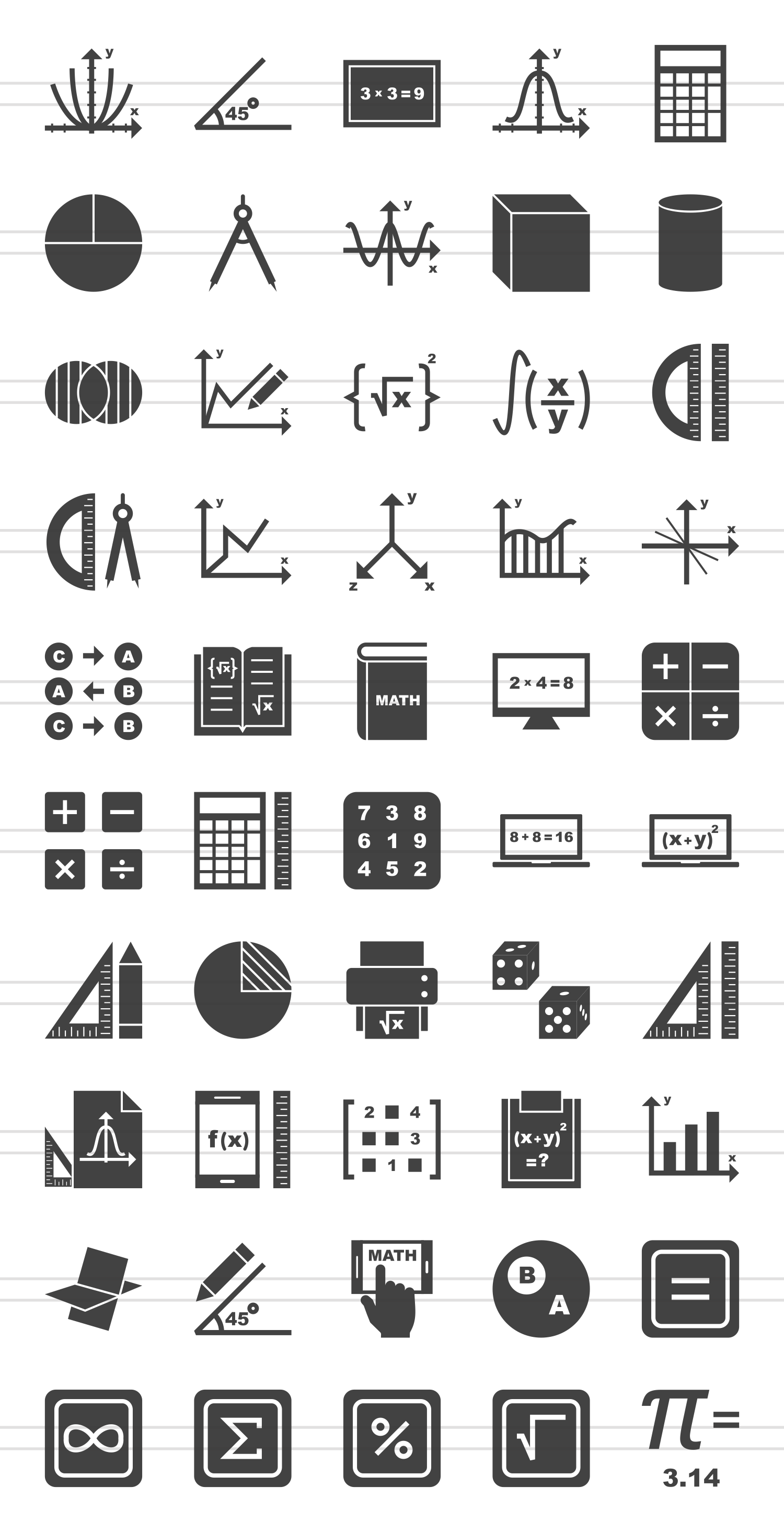 50 math symbols glyph icons by iconbunny design bundles 50 math symbols glyph icons example image 2 biocorpaavc Choice Image