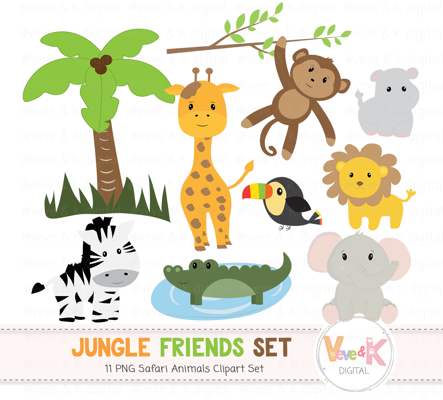 safari jungle animals clip art african design bundles rh designbundles net safari animals clipart free baby safari animals clipart