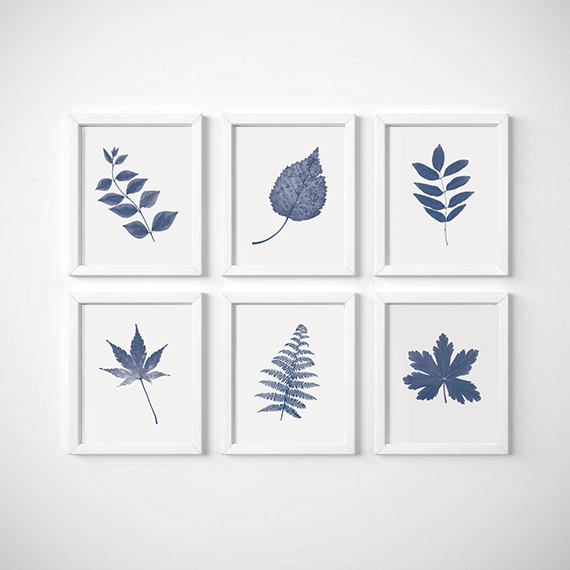 Navy blue wall art set of 6 prints set of blue prints leaves