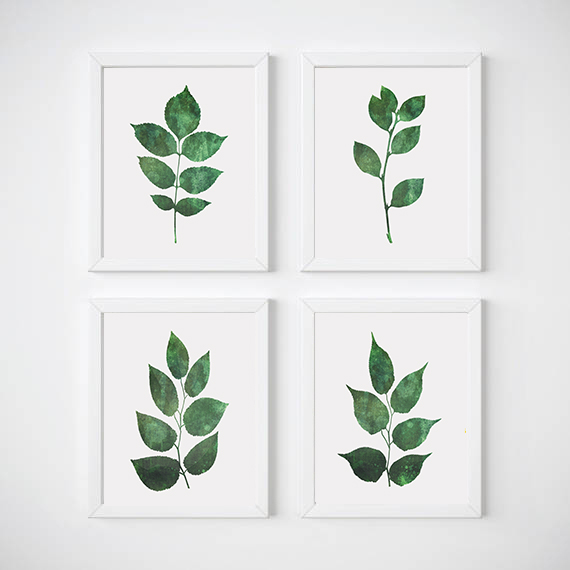 Leaf Wall Art Set of 4 Prints Botanical Poster Green Leaves Botanical : wall art leaves - www.pureclipart.com