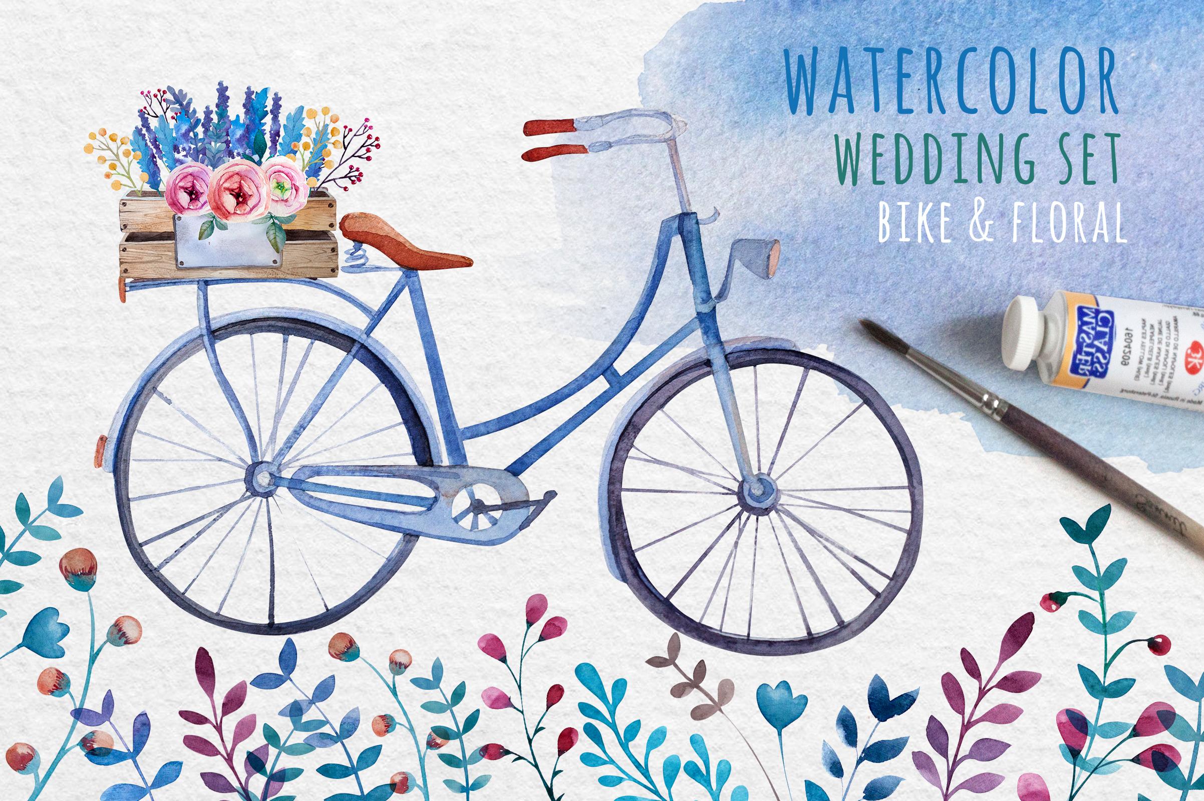 Watercolor bike & flowers example image 1