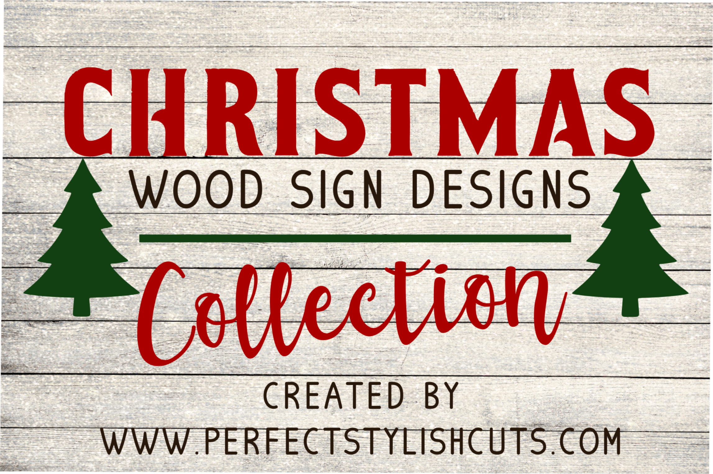 Christmas Wood Sign Designs Collection - SVG, EPS, DXF, PNG Files For Cutting Machines example image 1