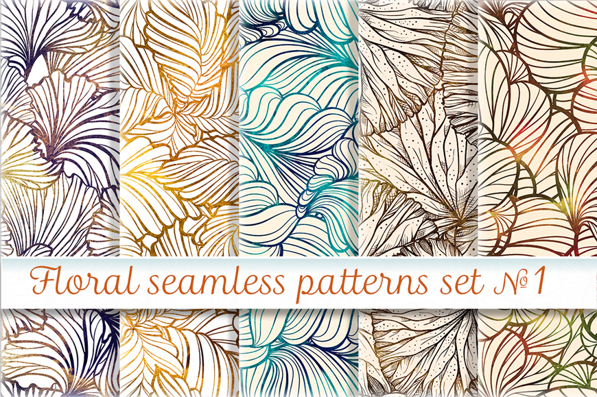 Floral seamless patterns set example image 1