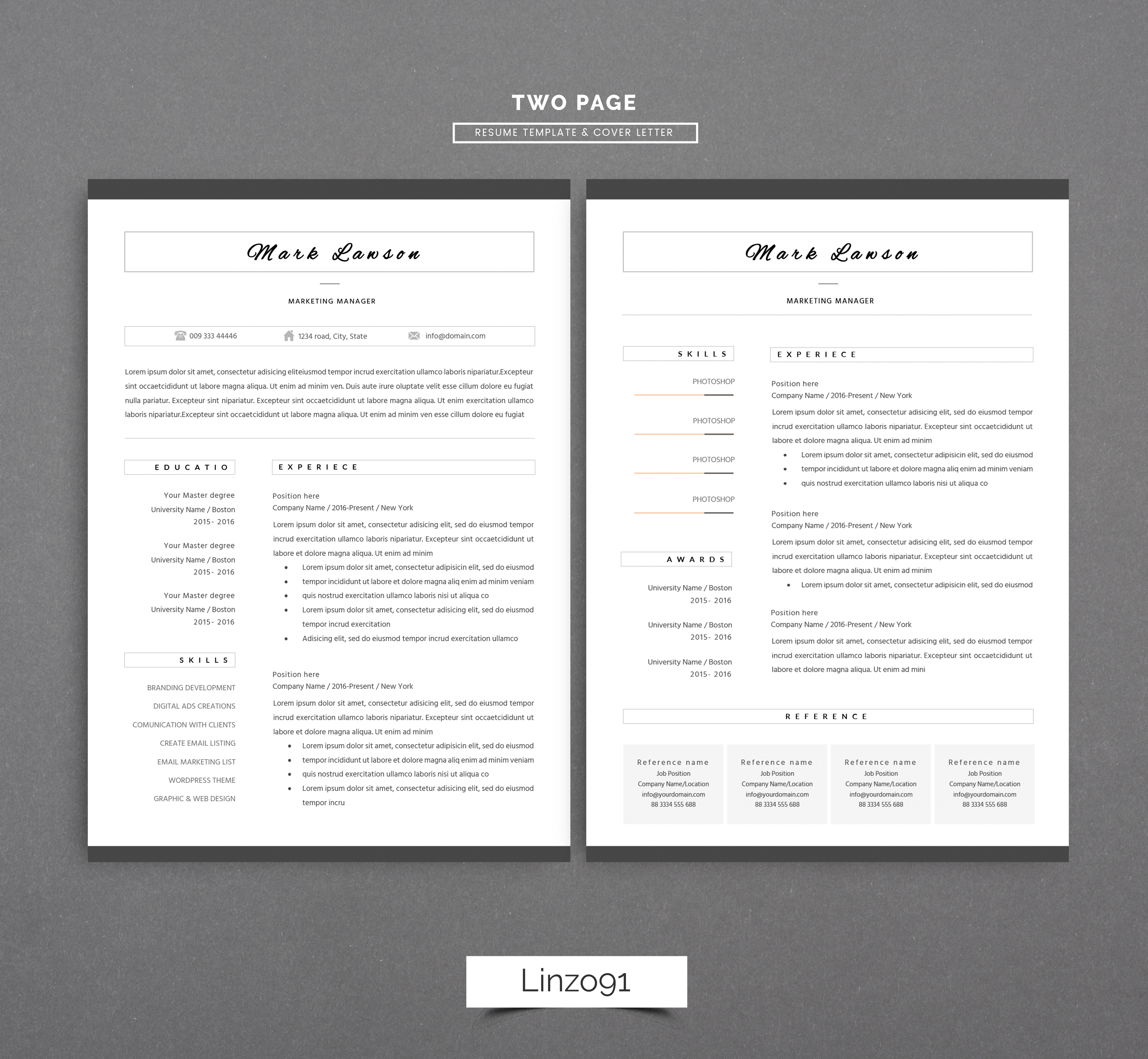 minimal resume 3 pages    cv template fo