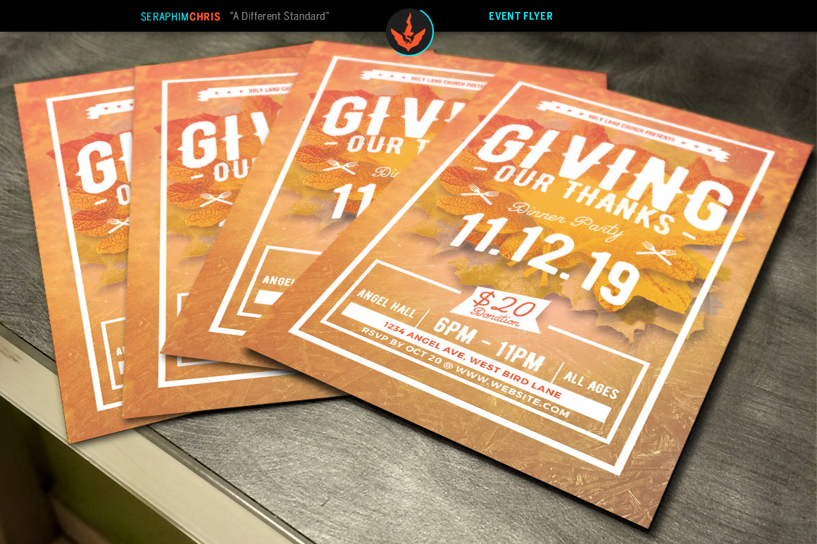 Giving Thanks Holiday Flyer Template b | Design Bundles