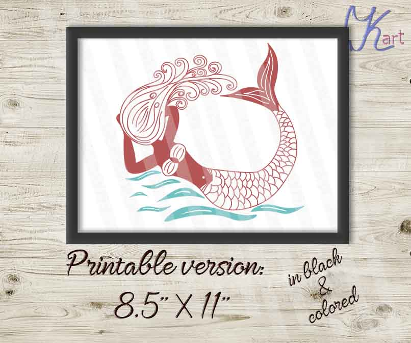 Hand drown swiming in the ocean mermaid  SVG Cutting file example image 2