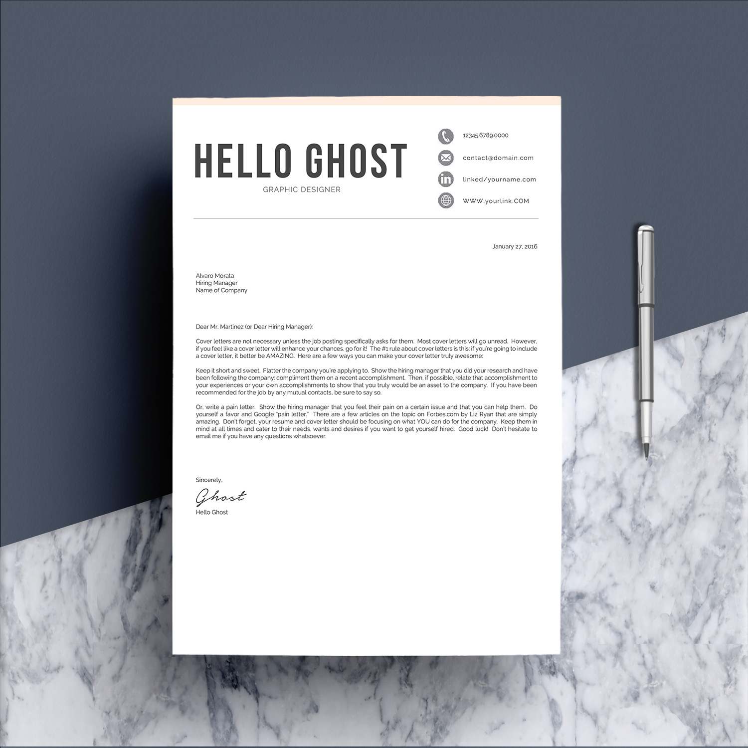 Modern Resume Template 4 Pages Design example