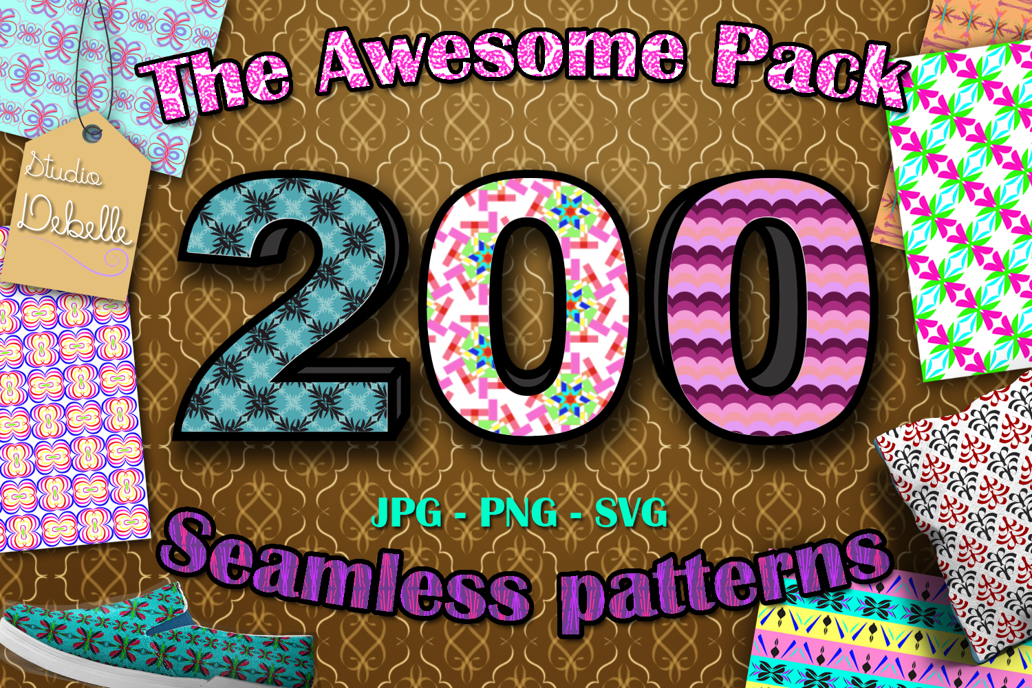 The Awesome Pack - 200 Seamless Patterns Digital Papers example image 1