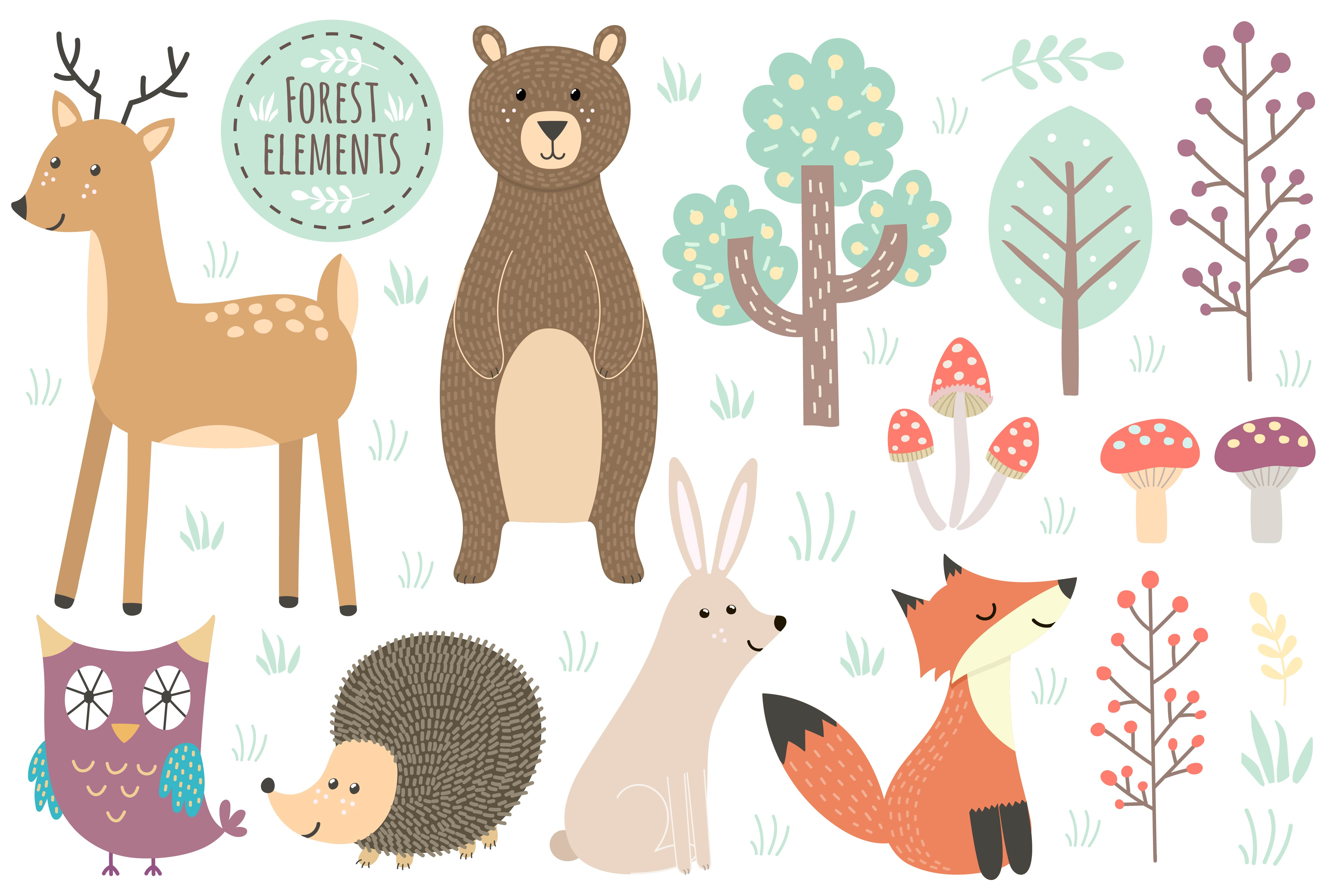 Forest: seamless pattern & elements example image 5