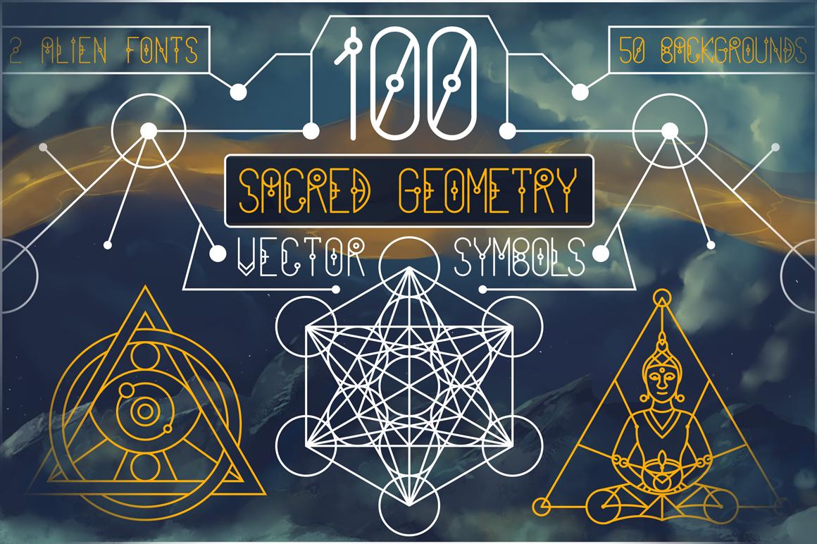 100 Sacred Geometry Symbols  example image 1