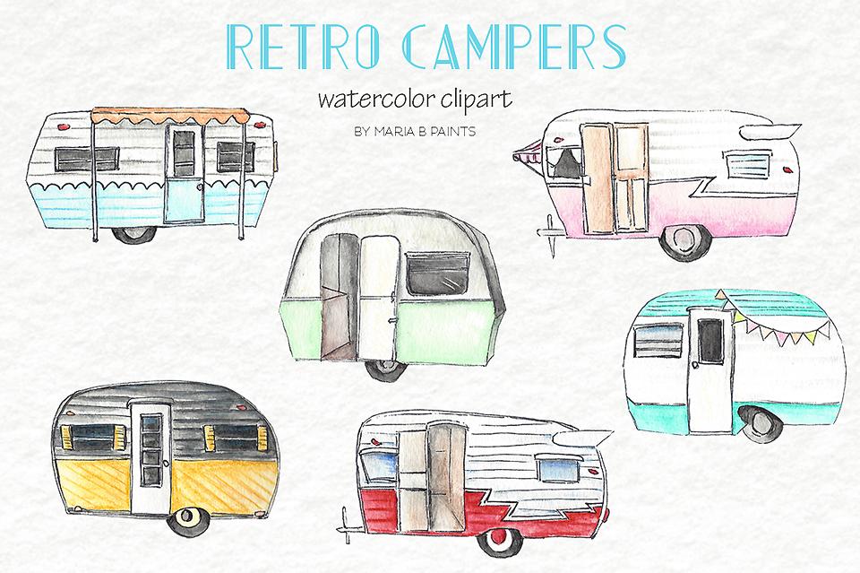 Watercolor Clip Art - Campers by Maria   Design Bundles