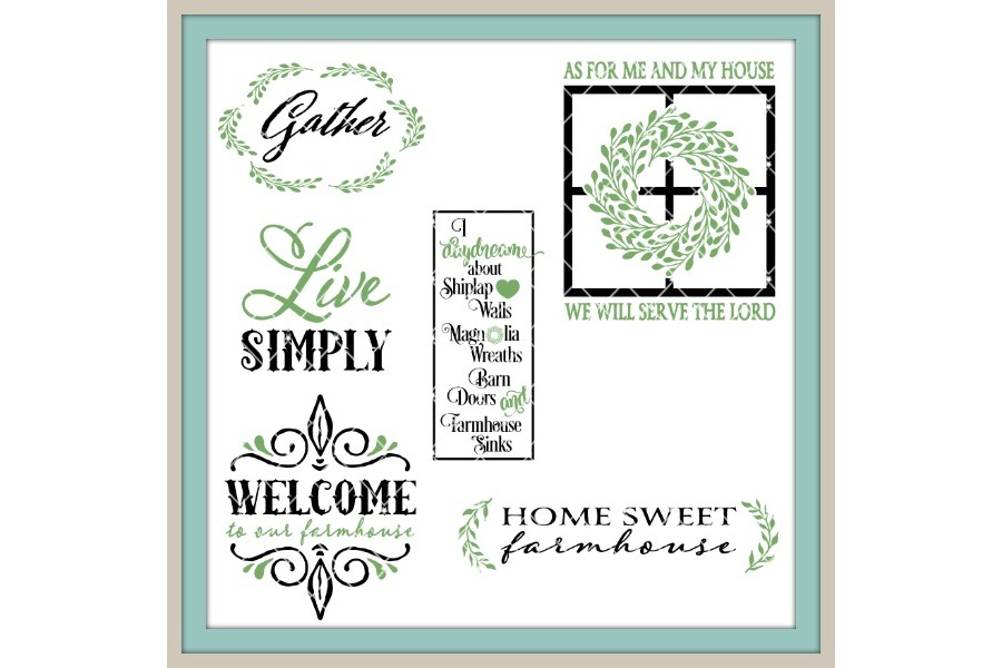 Farmhouse Style Big Bundle LLBB002 Cut files in SVG DXF EPS AI JPG PNG example image 2