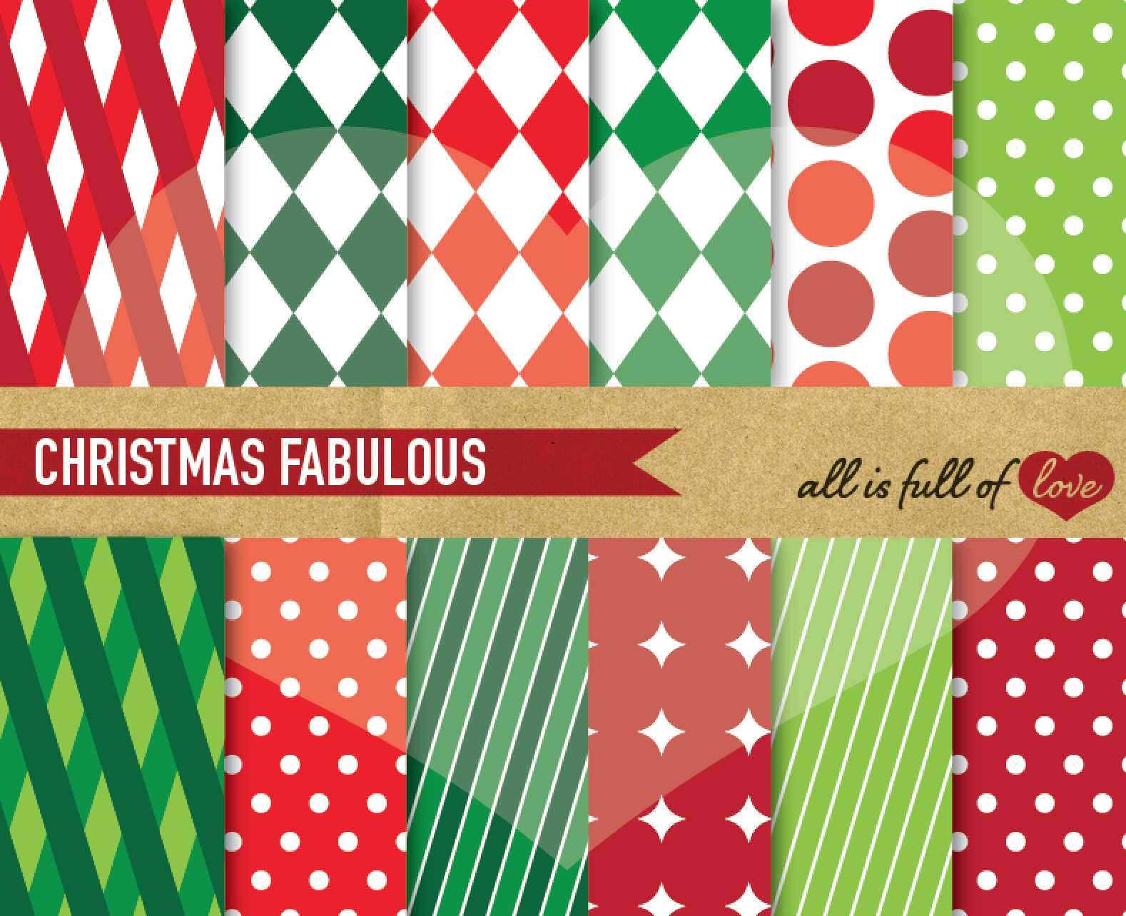 Christmas Digital Paper Pack Xmas Background Graphics in Red and Green example image 1