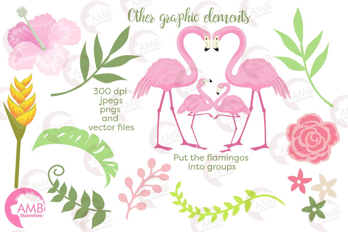 Flamingos clipart mega pack, graphics, illustrations AMB-1047 example image 6