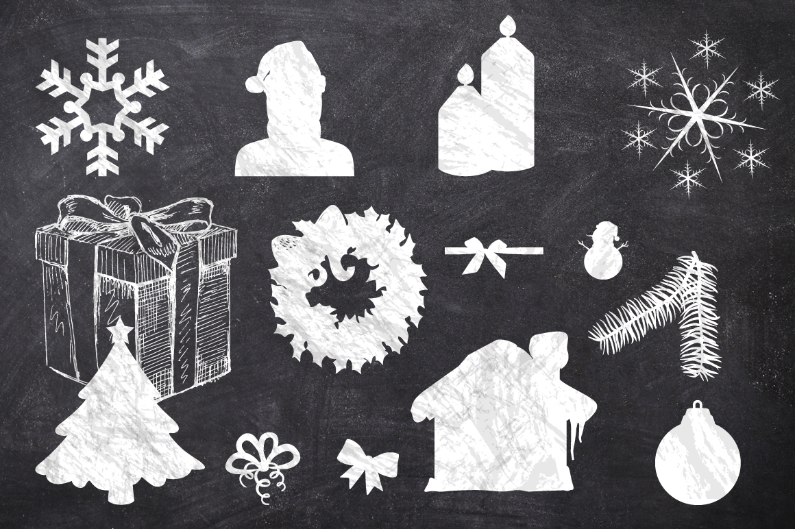 50 Chalk Christmas Elements example image 4