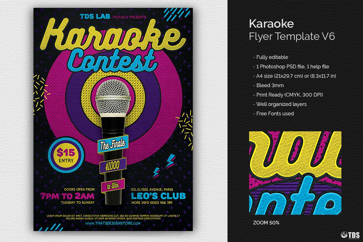 Karaoke Flyer Template V6 example image 1