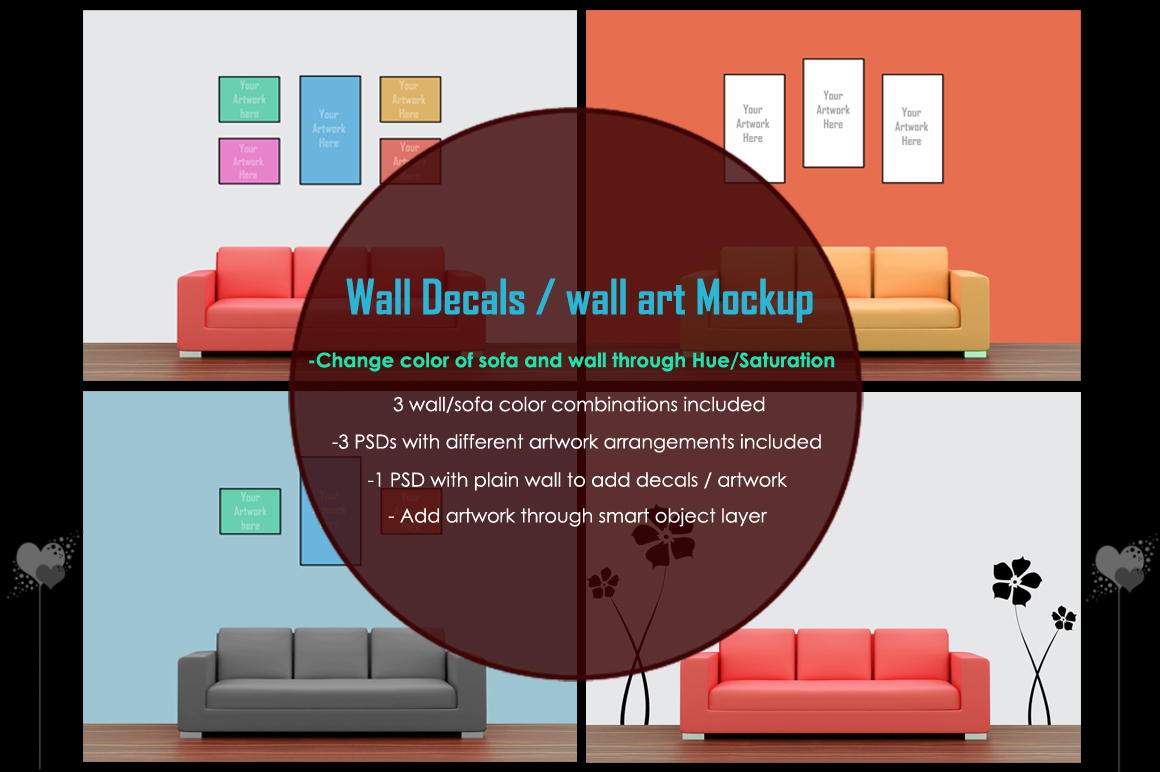 Wall art / decals / poster Mockup v1 example image 1