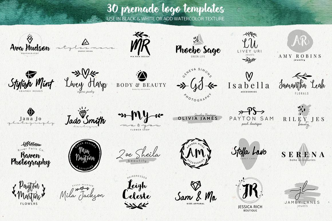 Premade Watercolor Logo Creator Kit for   Design Bundles