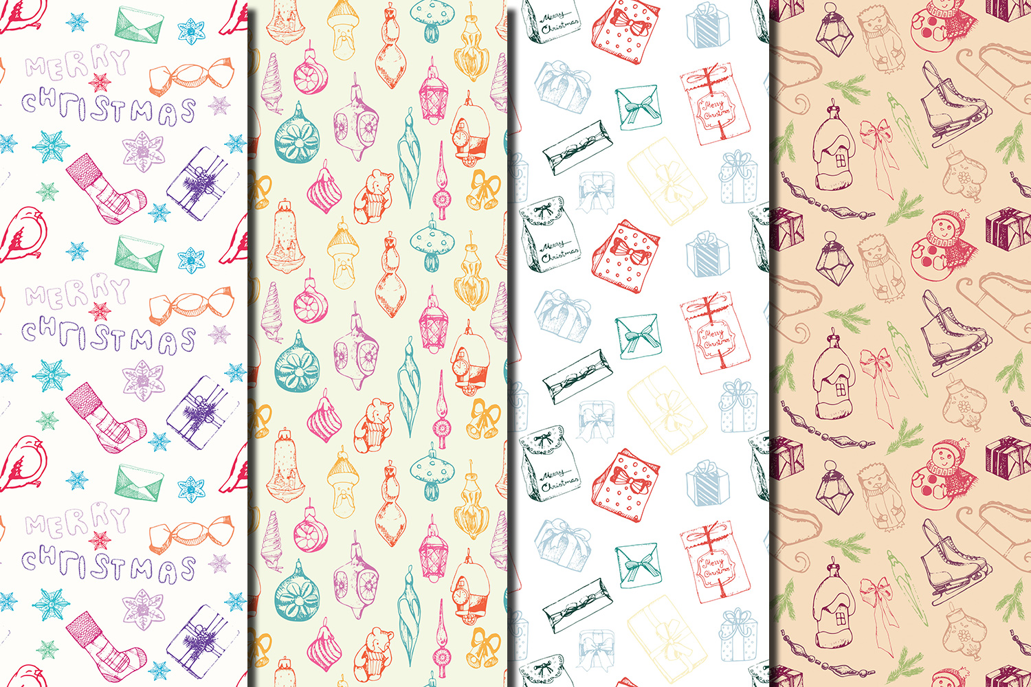 Christmas Hand drawn seamless digital paper pack example image 5