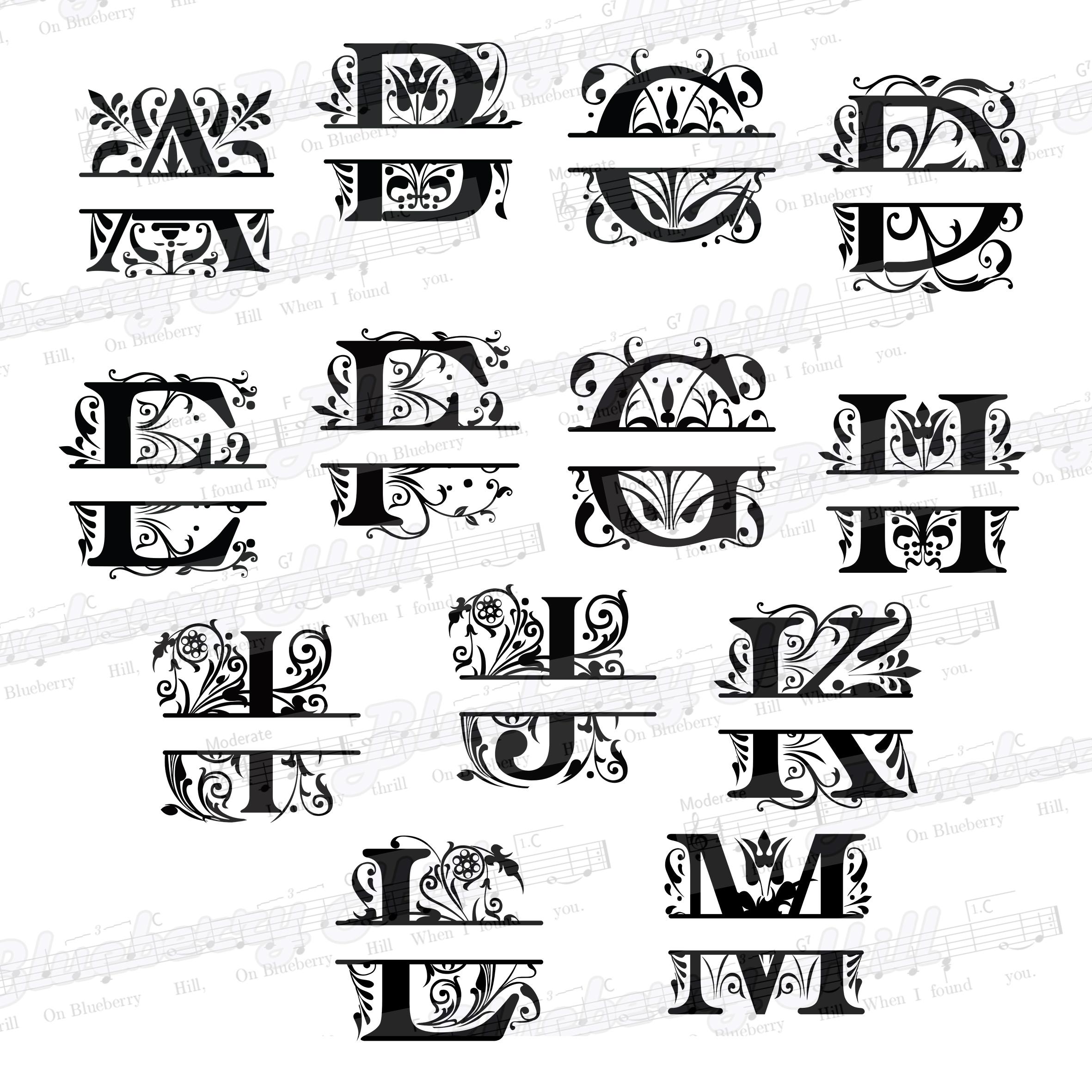 Regal Split Monogram Letters SVG - Regal Letters cut files - Regal Split Monogram Letters - Regal Split - DIY- Svg - Dxf - Eps - Png - Jpg - Pdf example image 3