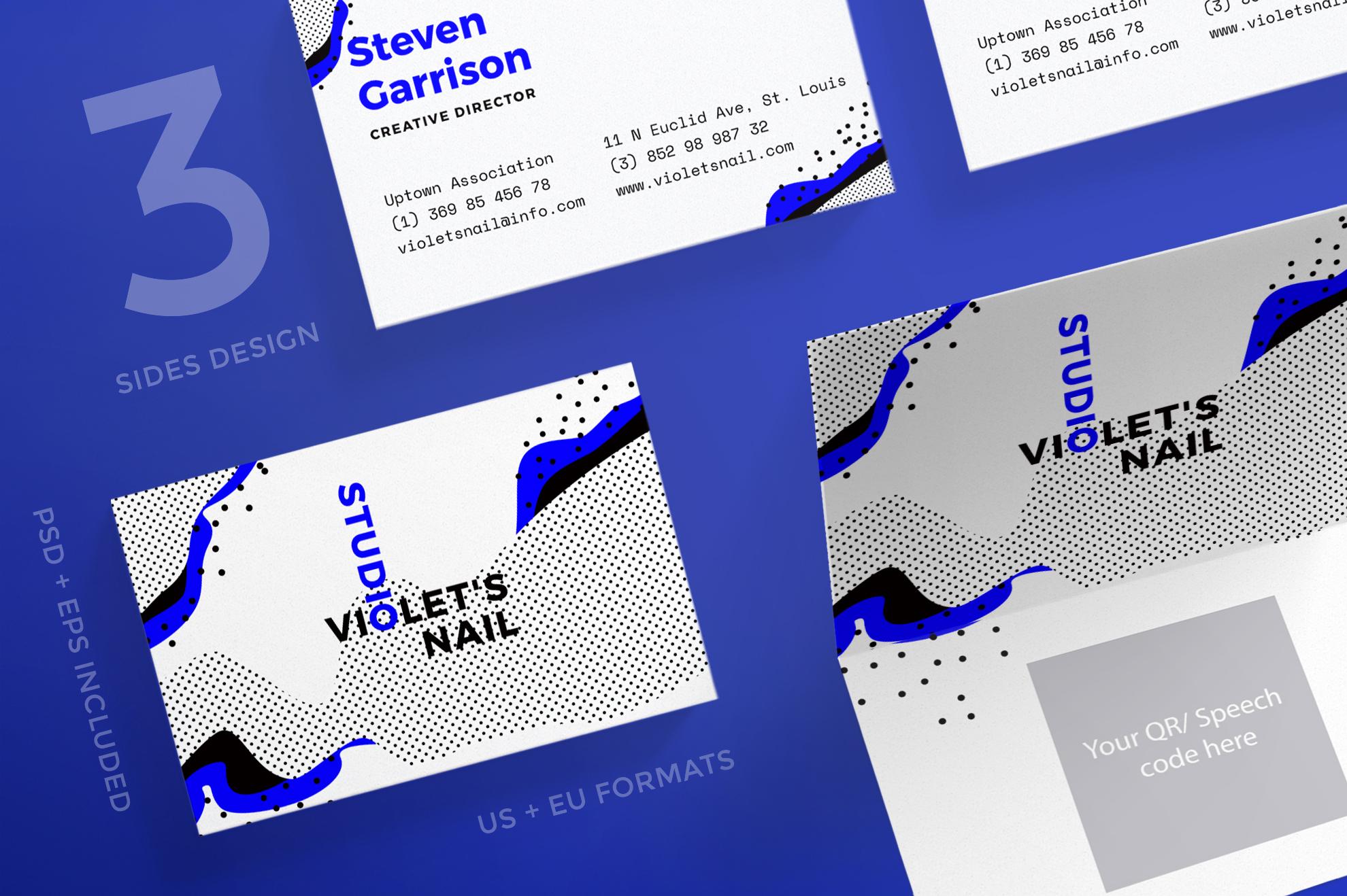 Nail Studio Business Card Design Templa   Design Bundles