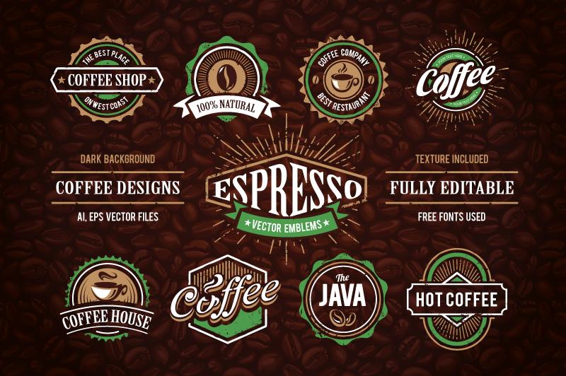 Retro Coffee Emblems #1 example image 1