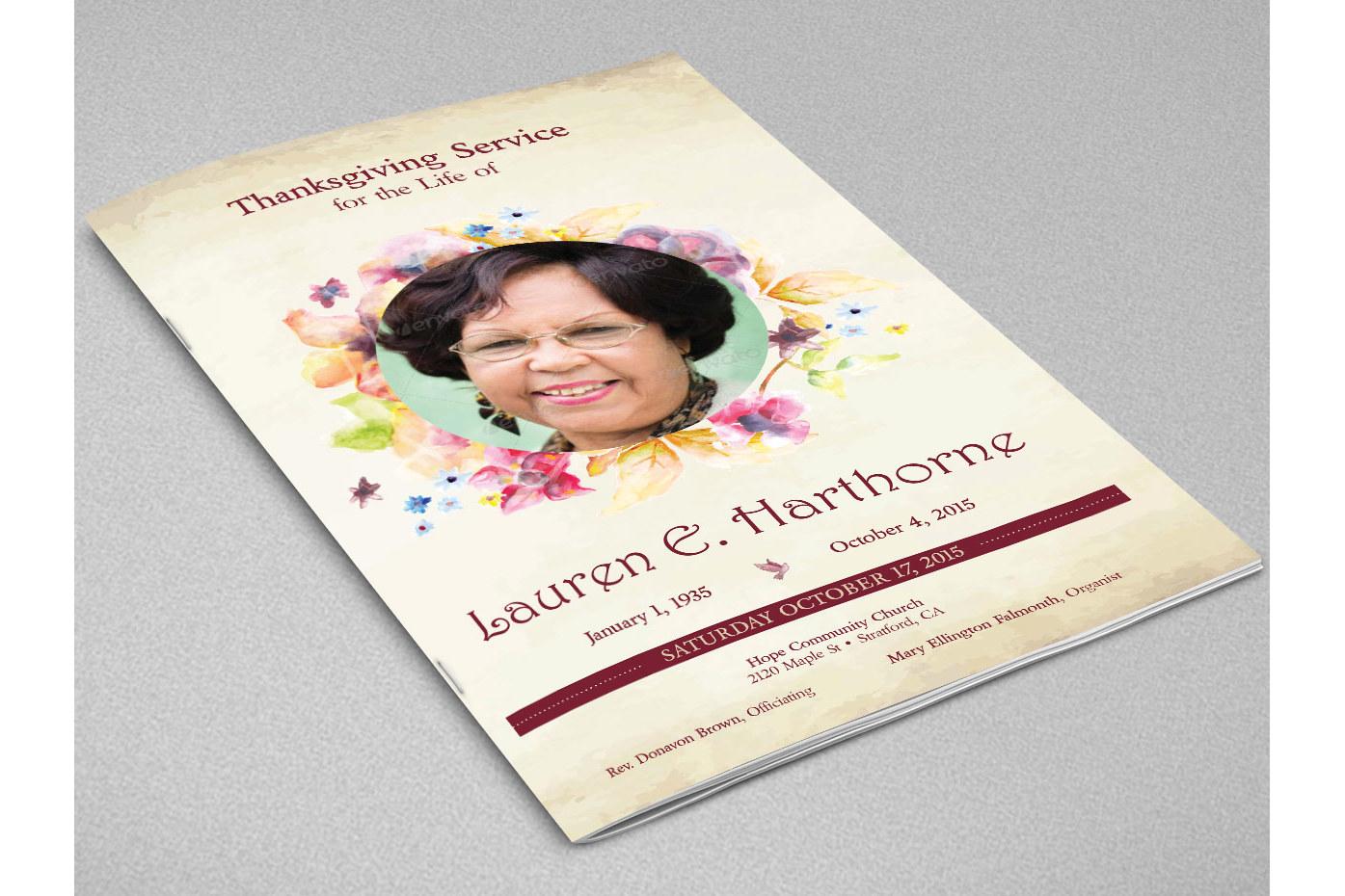 Watercolor Funeral Program Indesign Tem Design Bundles - Funeral flyer template