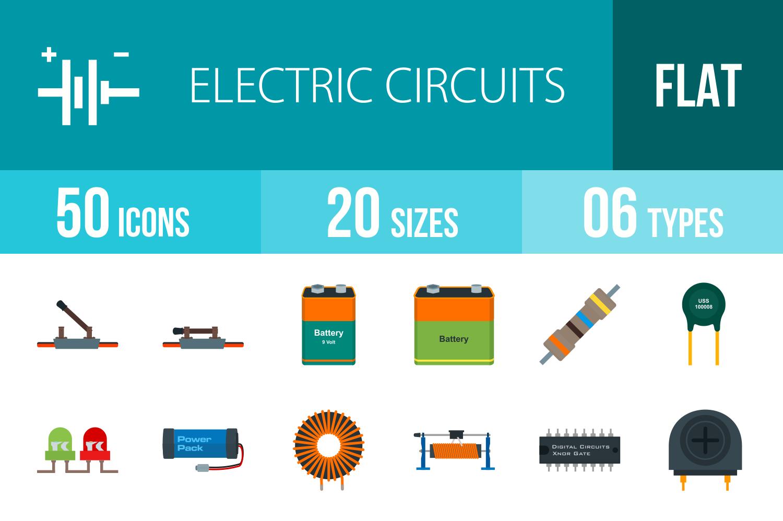 50 Electric Circuits Flat Multicolor Ic   Design Bundles