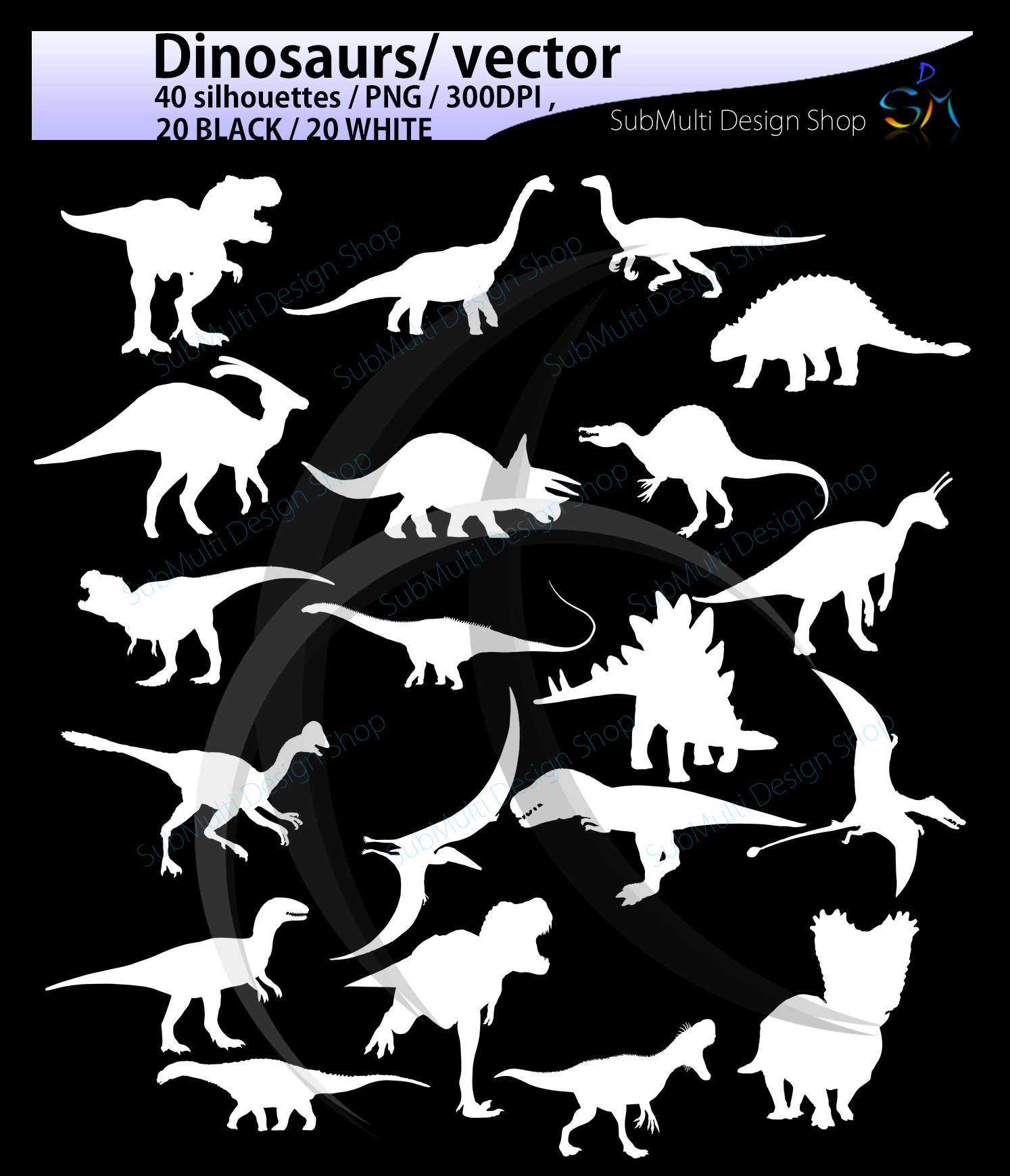 Dinosaurs silhouette svg / dinosaur Clipart, Iron on Transfer, Scrapbooking & Crafts / SVG template / EPS / PNG /animal silhouette / vector example image 4