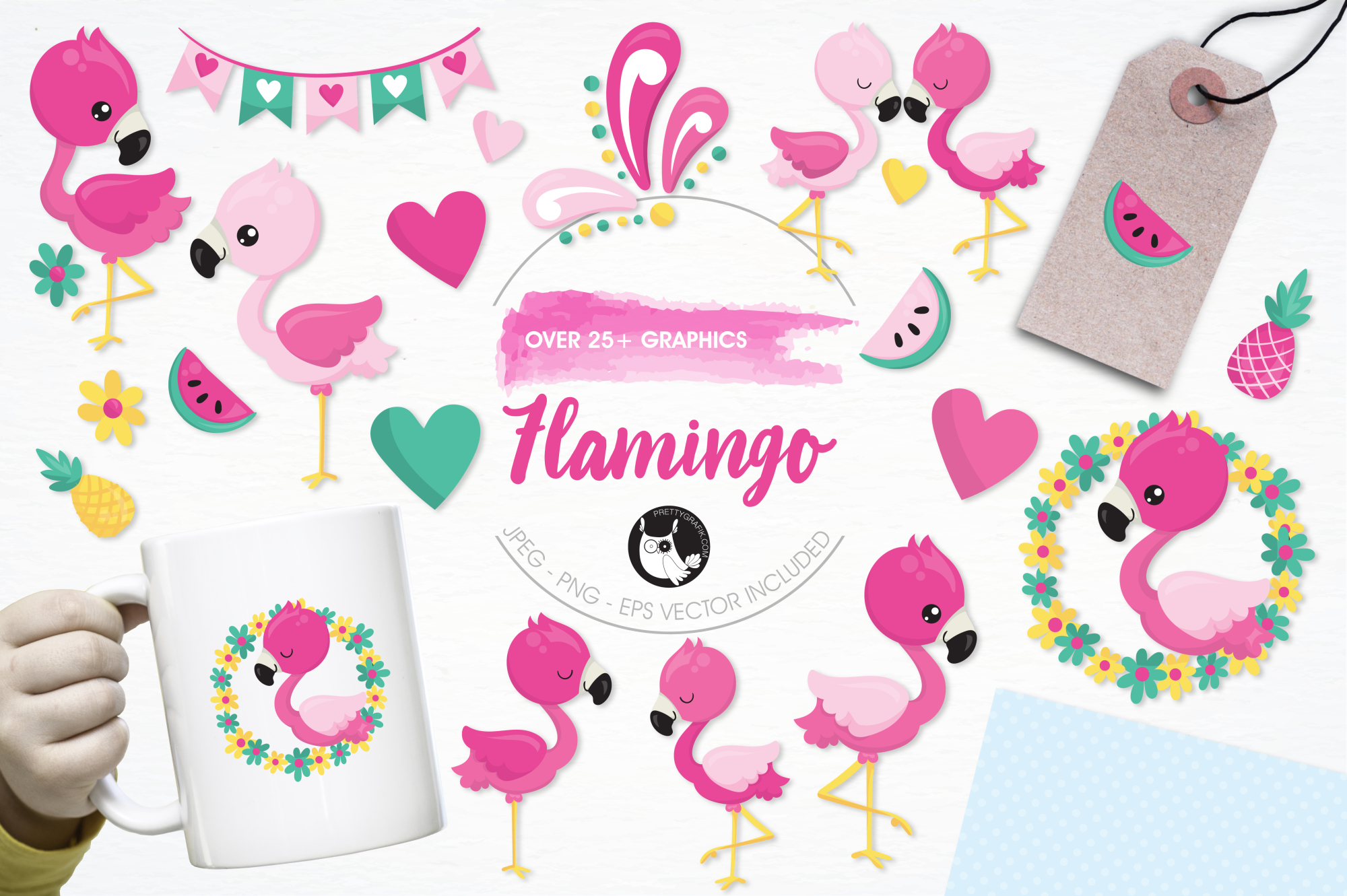 Flamingo graphics and illustrations example image 1