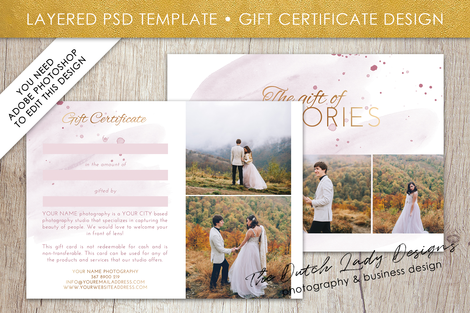 Photo gift card template for adobe phot design bundles photo gift card template for adobe photoshop layered psd template design 36 example yelopaper Choice Image