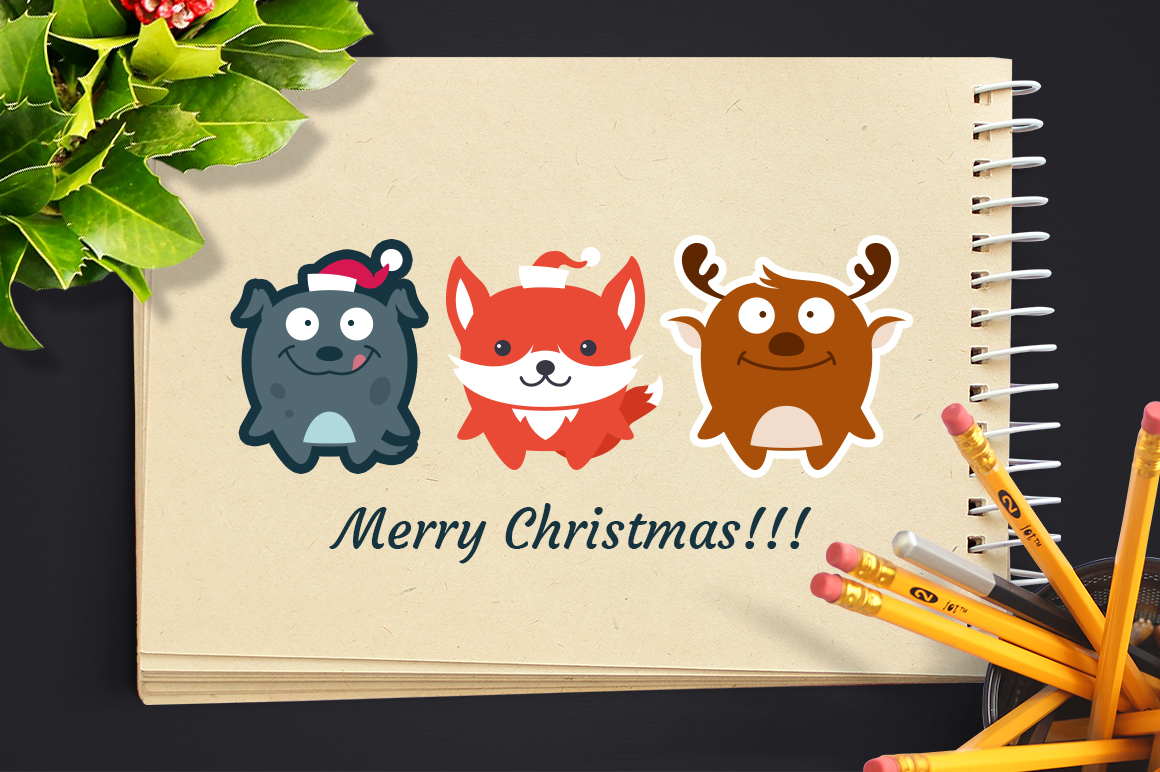 Cute Flat Christmas Characters Vol.2 example image 2