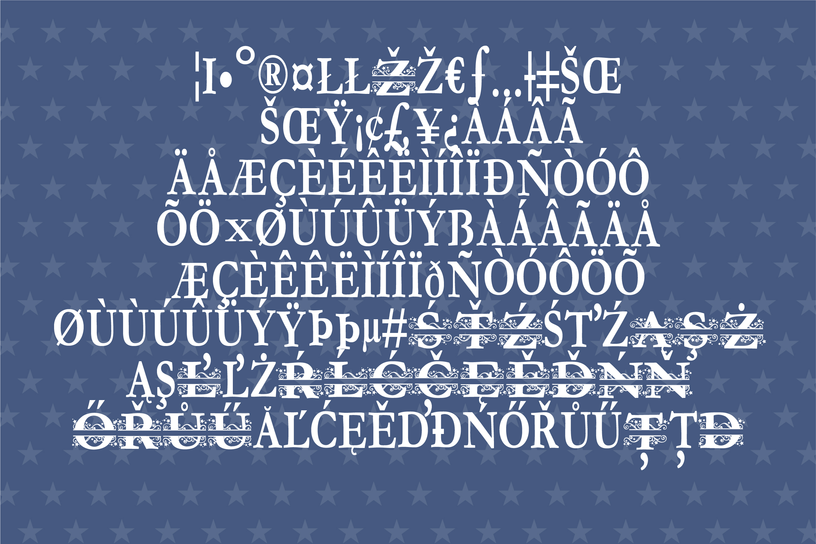 PN Stars & Swirls Monogram Banner Font example image 3