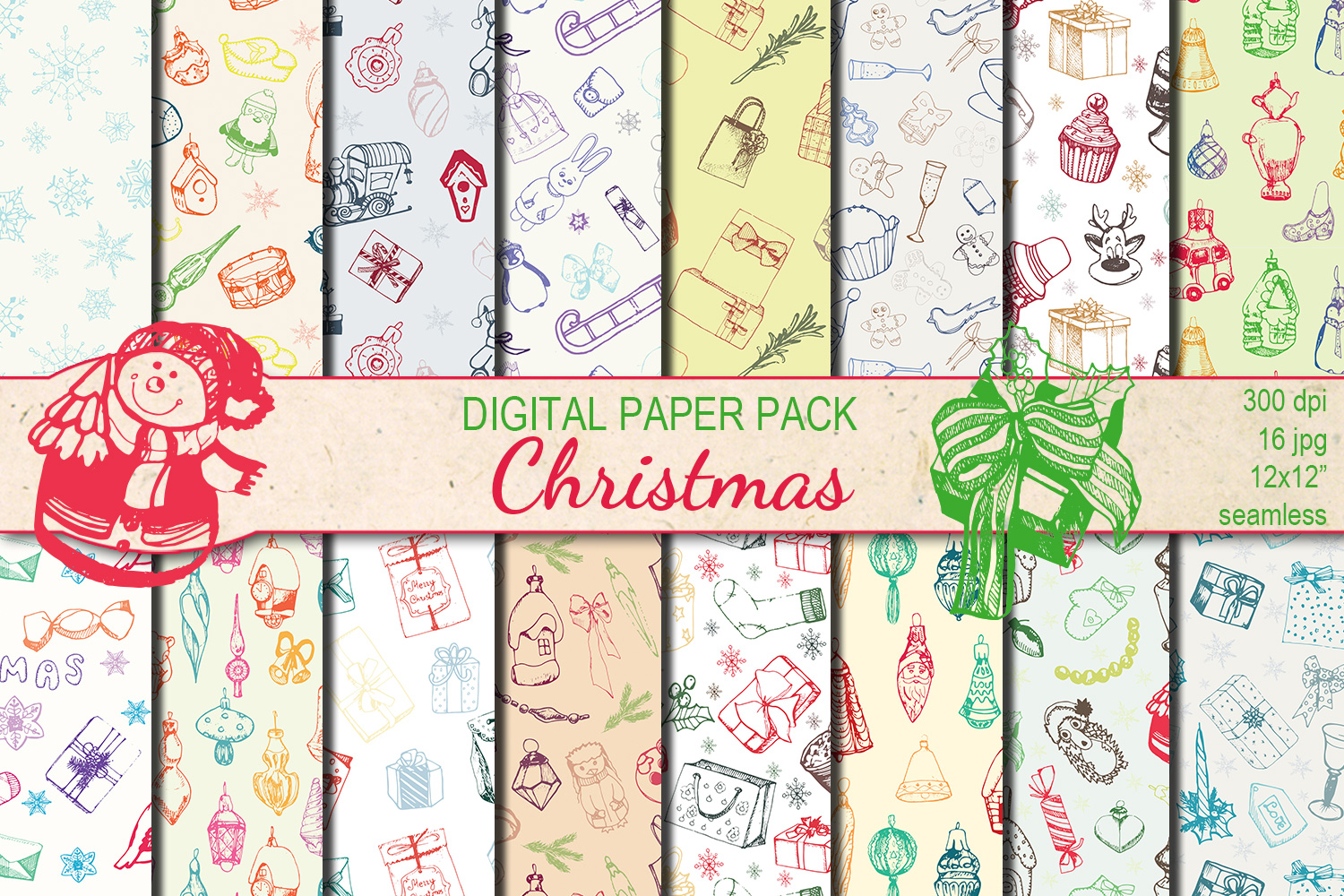 Christmas Hand drawn seamless digital paper pack example image 1